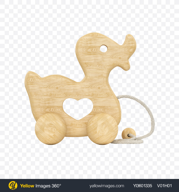 Download Wooden Duck Pull Toy Transparent PNG on Yellow Images 360°