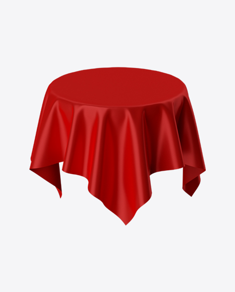Red Satin Cloth on Round Surface