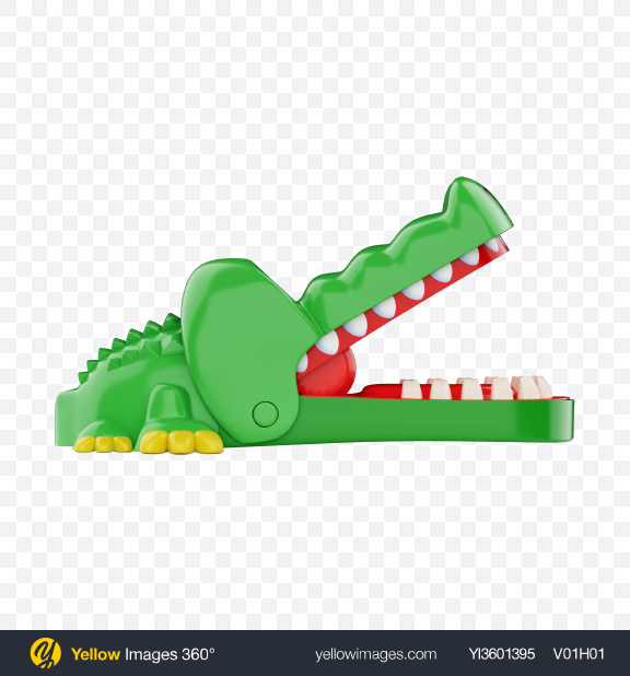 Download Biting Crocodile Toy Transparent PNG on Yellow Images 360°