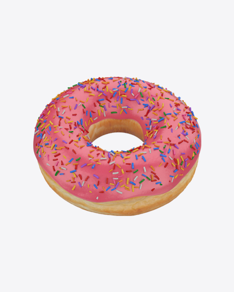 Pink Glazed Donut with Sprinkles