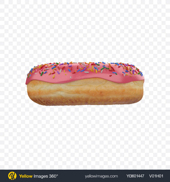 Download Pink Glazed Donut with Sprinkles Transparent PNG on Yellow Images 360°