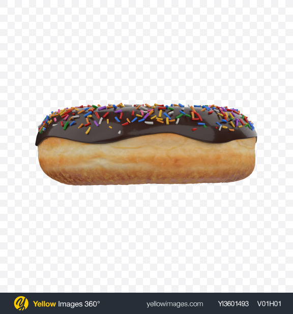 Download Chocolate Glazed Donut with Sprinkles Transparent PNG on Yellow Images 360°