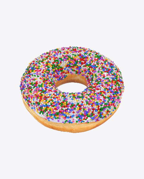 White Glazed Donut with Sprinkles