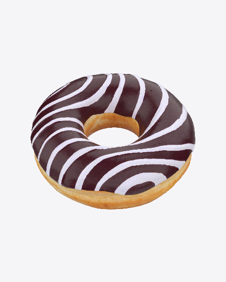 Chocolate Glazed Donut with White Stripes