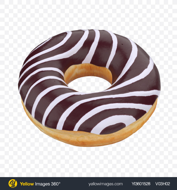 Download Chocolate Glazed Donut with White Stripes Transparent PNG on Yellow Images 360°