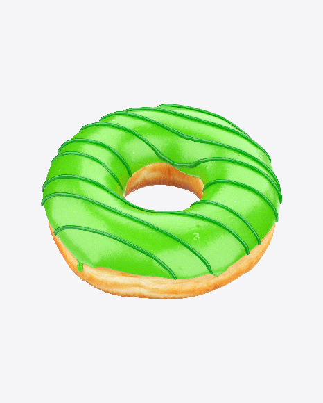 Green Glazed Donut with Stripes
