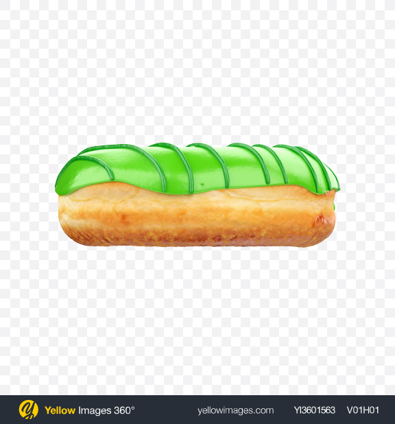 Download Green Glazed Donut with Stripes Transparent PNG on Yellow Images 360°