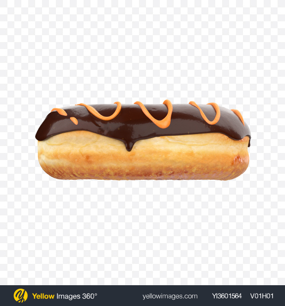 Download Chocolate Glazed Donut with Orange Stripes Transparent PNG on Yellow Images 360°