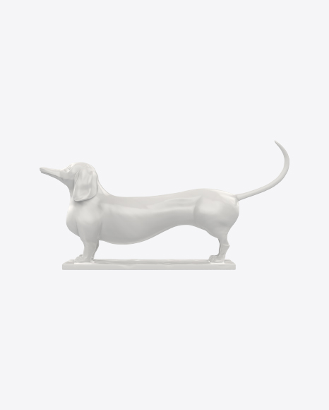 White Dachshund Sculpture