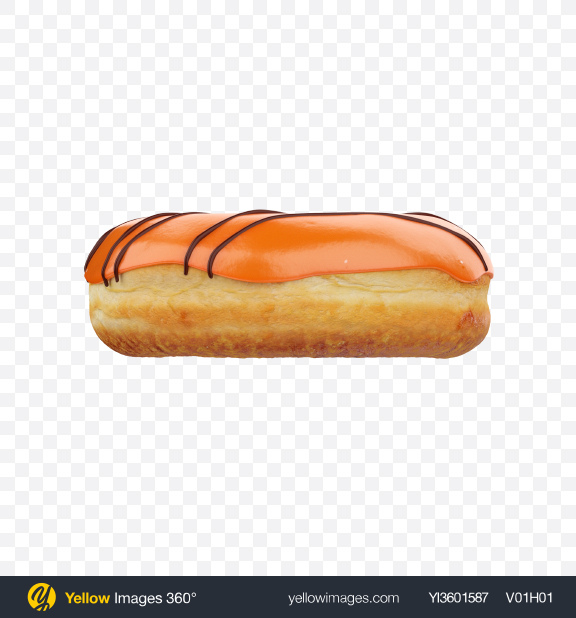 Download Orange Glazed Donut with Chocolate Stripes Transparent PNG on Yellow Images 360°