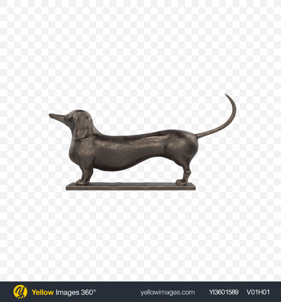 Download Metal Dachshund Sculpture Transparent PNG on Yellow Images 360°