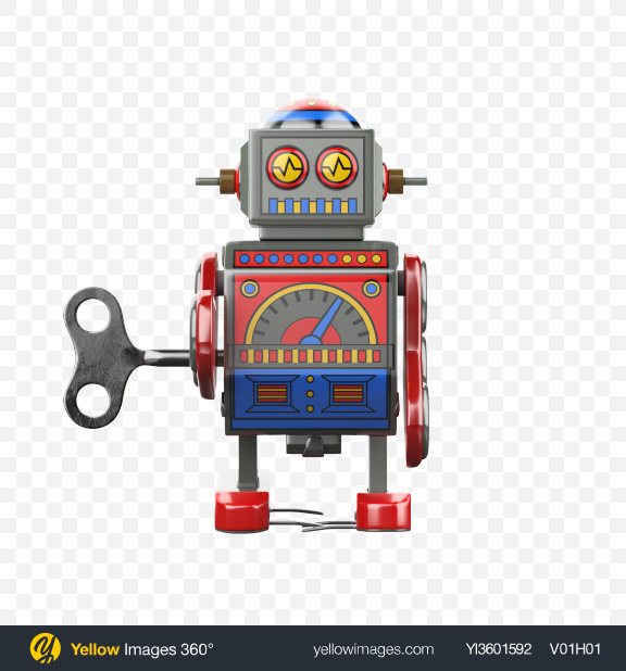 Download Wind-up Robot Toy Transparent PNG on Yellow Images 360°