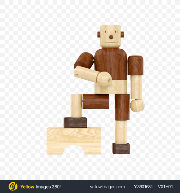 Download Wooden Toy Robot Transparent PNG on Yellow Images 360°