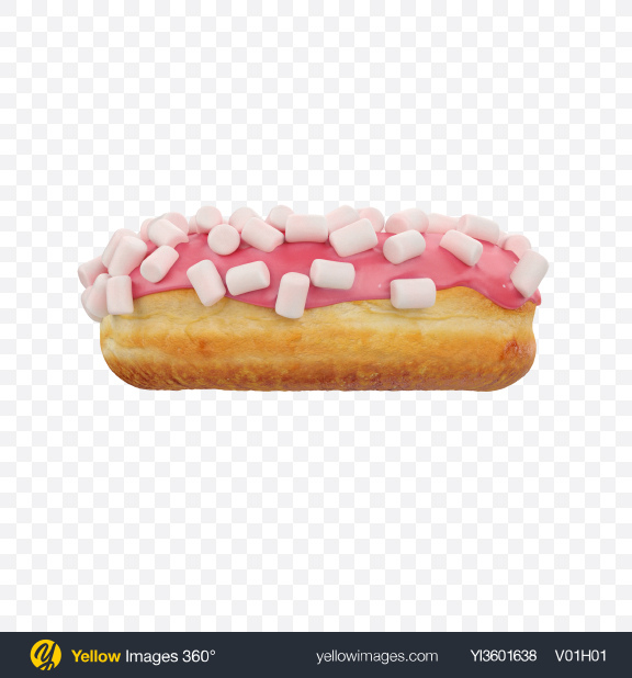 Download Pink Glazed Donut with Marshmallows Transparent PNG on Yellow Images 360°