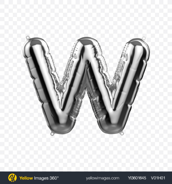 Download Letter W Foil Balloon Transparent PNG on Yellow Images 360°