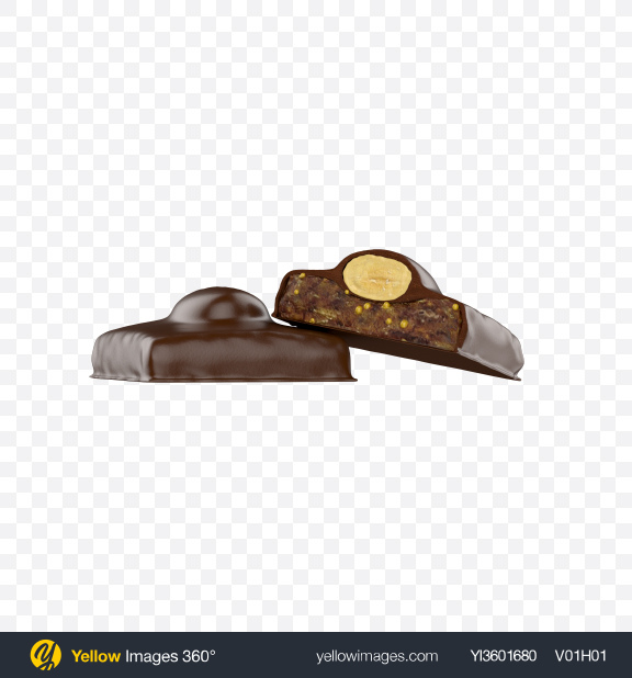 Download Fig with Almond in Milk Chocolate Transparent PNG on Yellow Images 360°