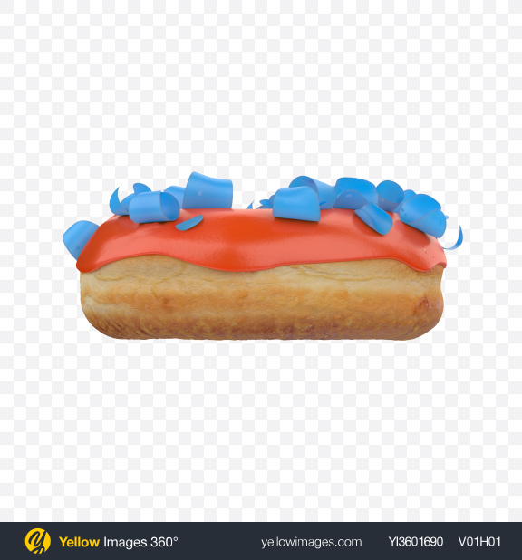 Download Orange Glazed Donut with Blue Shavings Transparent PNG on Yellow Images 360°
