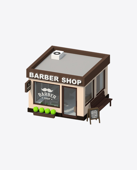 Low Poly Barber Shop
