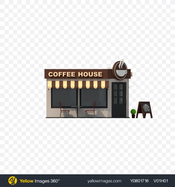 Download Low Poly Coffee House Transparent PNG on Yellow Images 360°