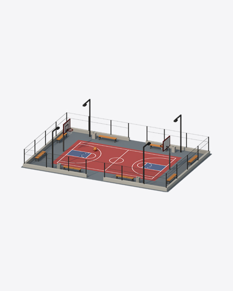 Low Poly Basketball Court