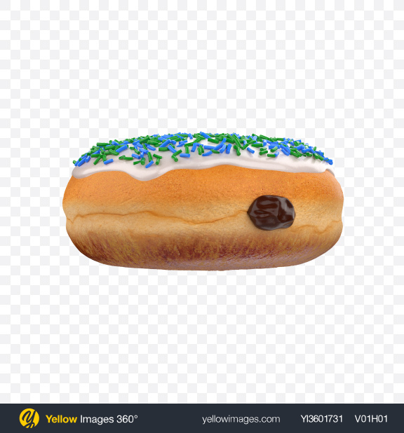 Download Boston Cream Donut with Sprinkles Transparent PNG on Yellow Images 360°