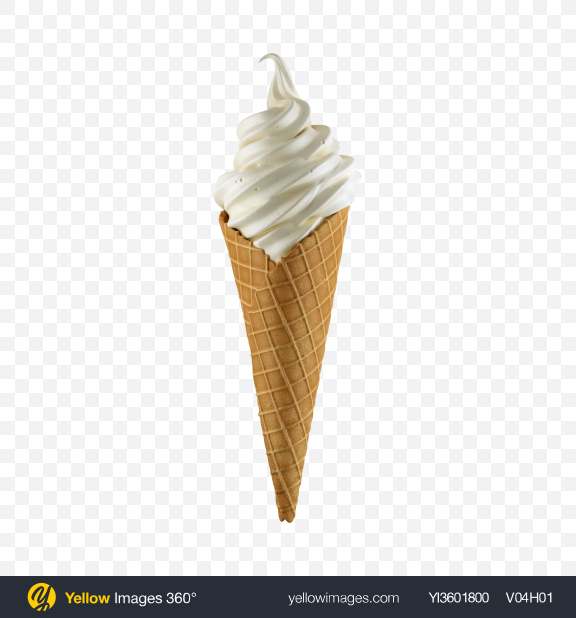 Download Vanilla Ice Cream Cone Transparent PNG on Yellow Images 360°