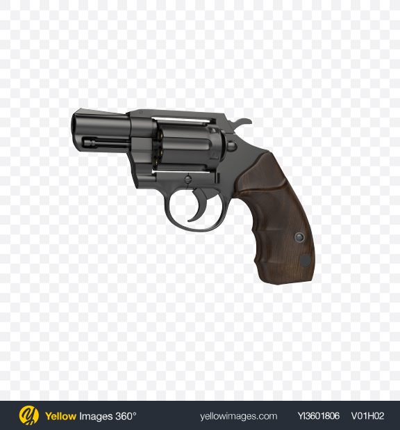Download Black Revolver Transparent PNG on Yellow Images 360°
