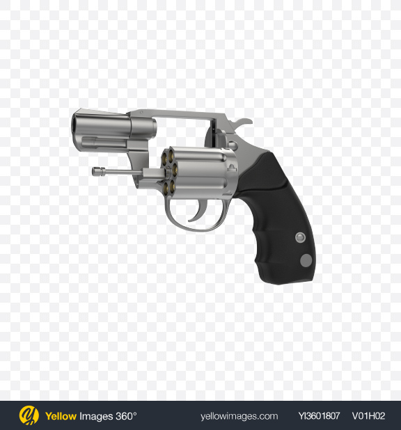 Download Steel Revolver With Open Cylinder Transparent PNG on Yellow Images 360°