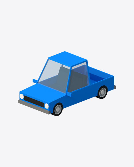 Low Poly Blue Car