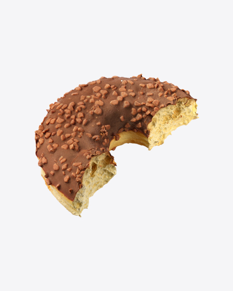 Half of Chocolate Glazed Donut with Nut Crumbs