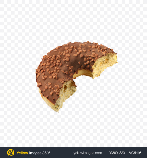 Download Half of Chocolate Glazed Donut with Nut Crumbs Transparent PNG on Yellow Images 360°