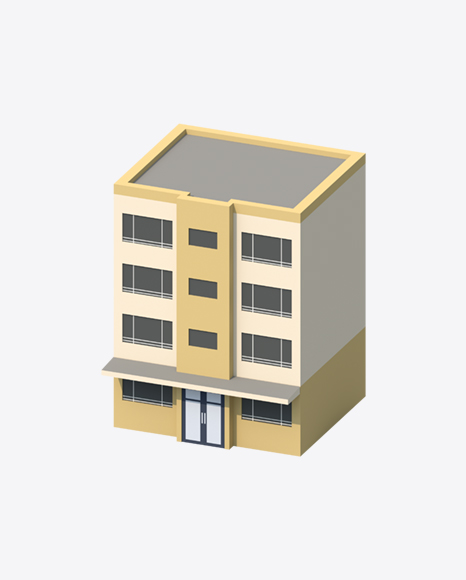 Yellow Low Poly Building