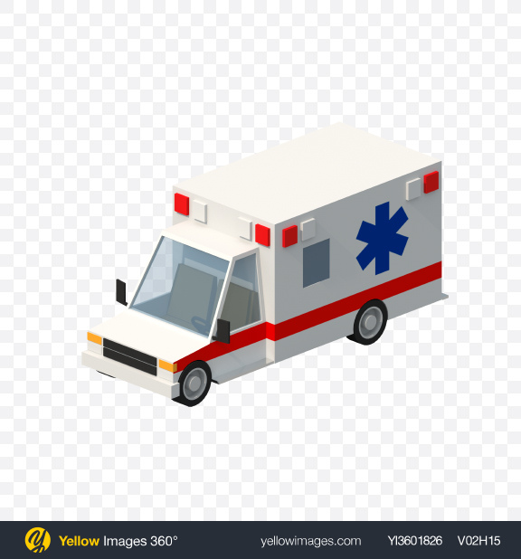 Download Low Poly Ambulance Transparent PNG on Yellow Images 360°