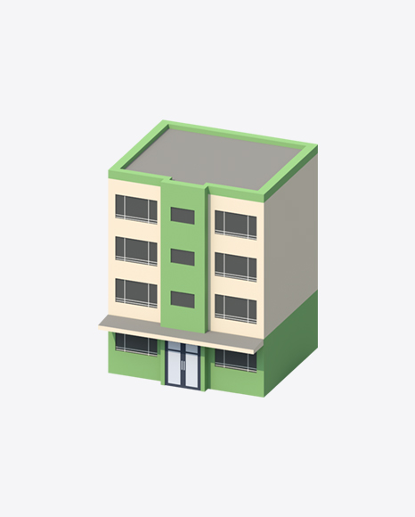 Green Low Poly Building