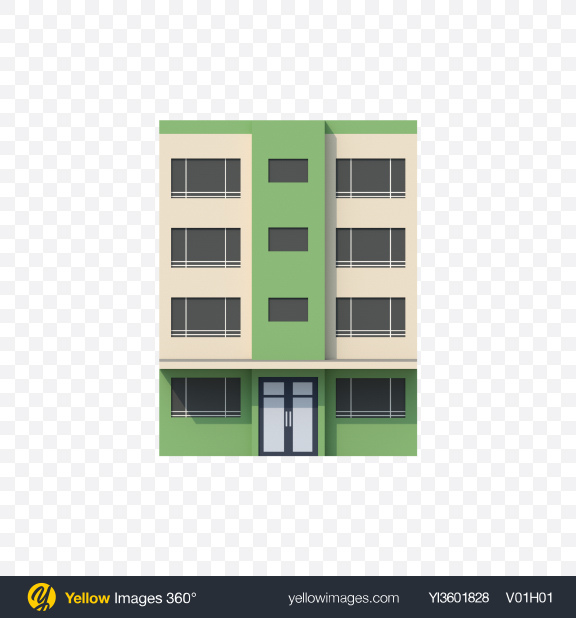 Download Green Low Poly Building Transparent PNG on Yellow Images 360°