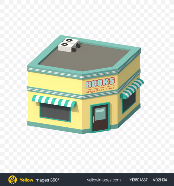 Download Low Poly Book Shop Transparent PNG on YELLOW Images