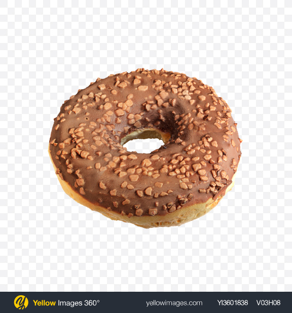 Download Chocolate Glazed Donut with Nut Crumbs Transparent PNG on Yellow Images 360°