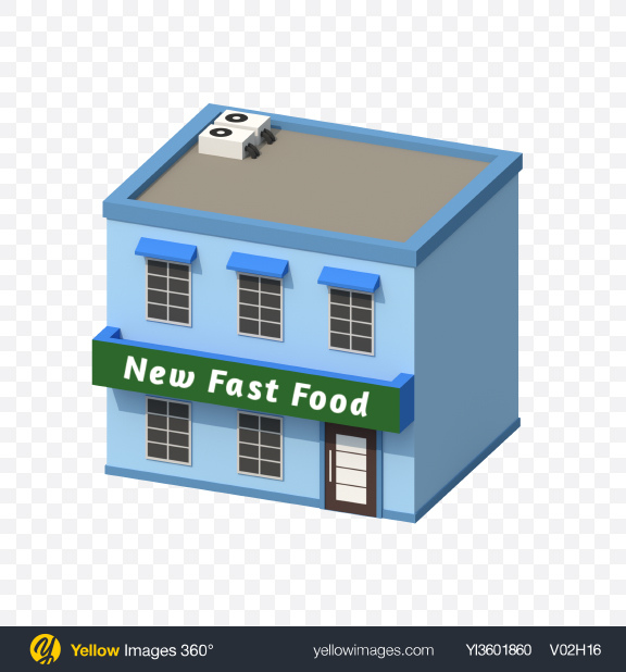 Download Low Poly Fast Food Restaurant Transparent PNG on Yellow Images 360°