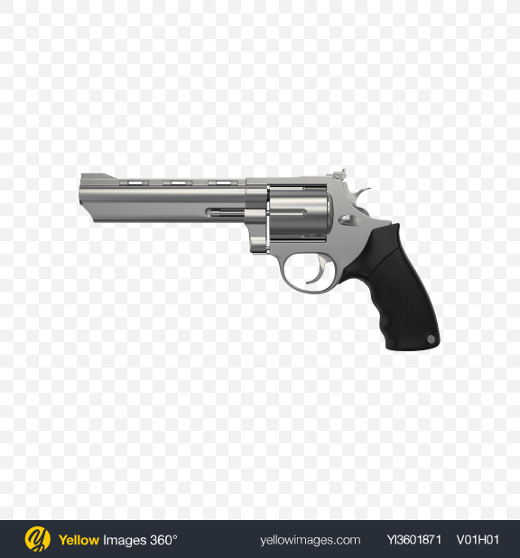 Download Silver Revolver Transparent PNG on Yellow Images 360°