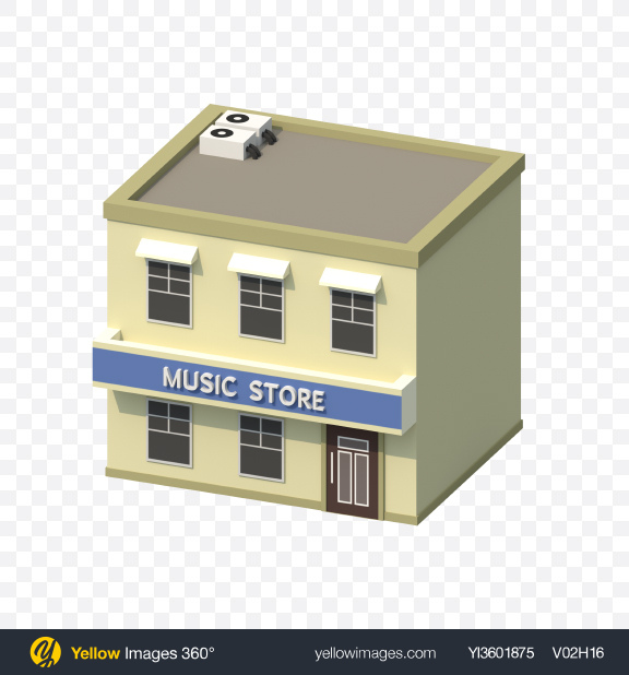 Download Low Poly Music Store Transparent PNG on YELLOW Images