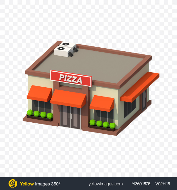 Download Low Poly Pizza Restaurant Transparent PNG on Yellow Images 360°