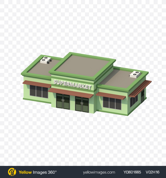 Download Low Poly Supermarket Transparent PNG on YELLOW Images