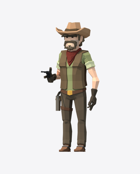 Low Poly Cowboy With Revolver