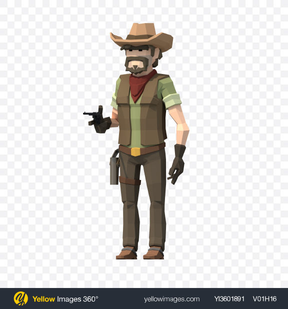 Download Low Poly Cowboy With Revolver Transparent PNG on Yellow Images 360°