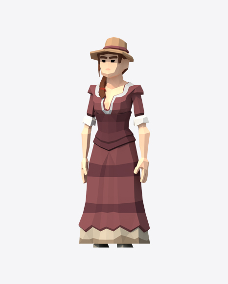 Low Poly Western Lady
