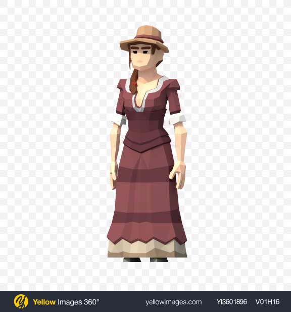 Download Low Poly Western Lady Transparent PNG on Yellow Images 360°