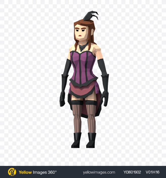 Download Low Poly Saloon Girl Transparent PNG on Yellow Images 360°