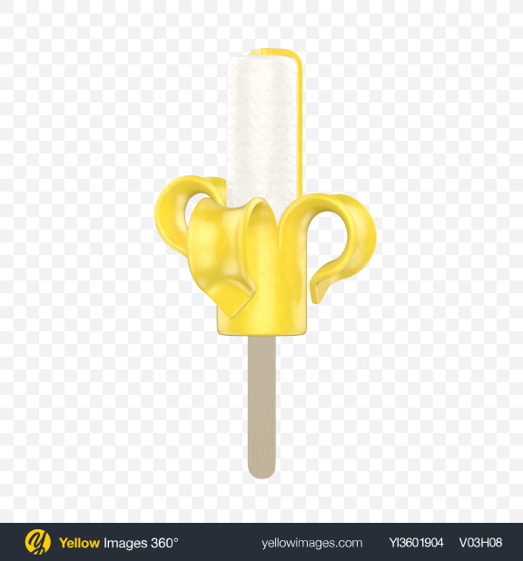 Download Banana Ice Lolly Transparent PNG on Yellow Images 360°