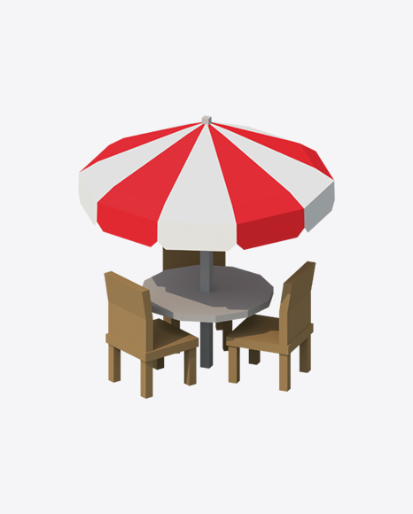 Low Poly Umbrella Table with Chairs