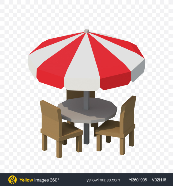 Download Low Poly Umbrella Table with Chairs Transparent PNG on Yellow Images 360°